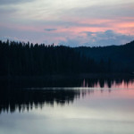 sunset on the grand mesa over ward lake